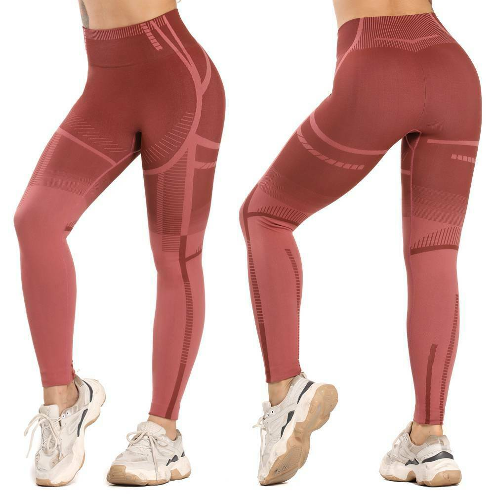 High Waist Yoga Pants Women Sports Fitness Running Seamless Gym Leggings #KY