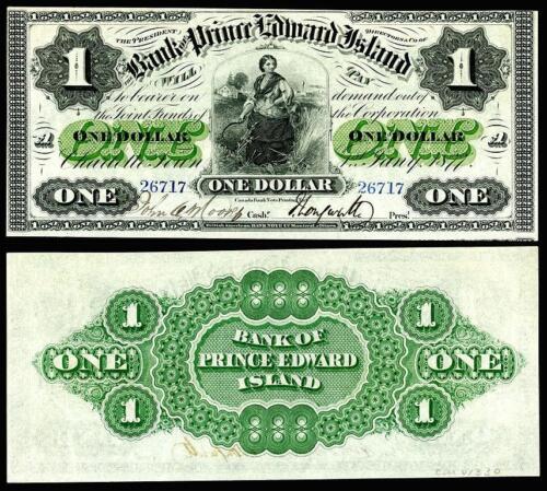 CRSIP UNC 1877 PRINCE EDWARD ISLAND $1.00  BANKNOTE COPY READ DESCRIPTION!