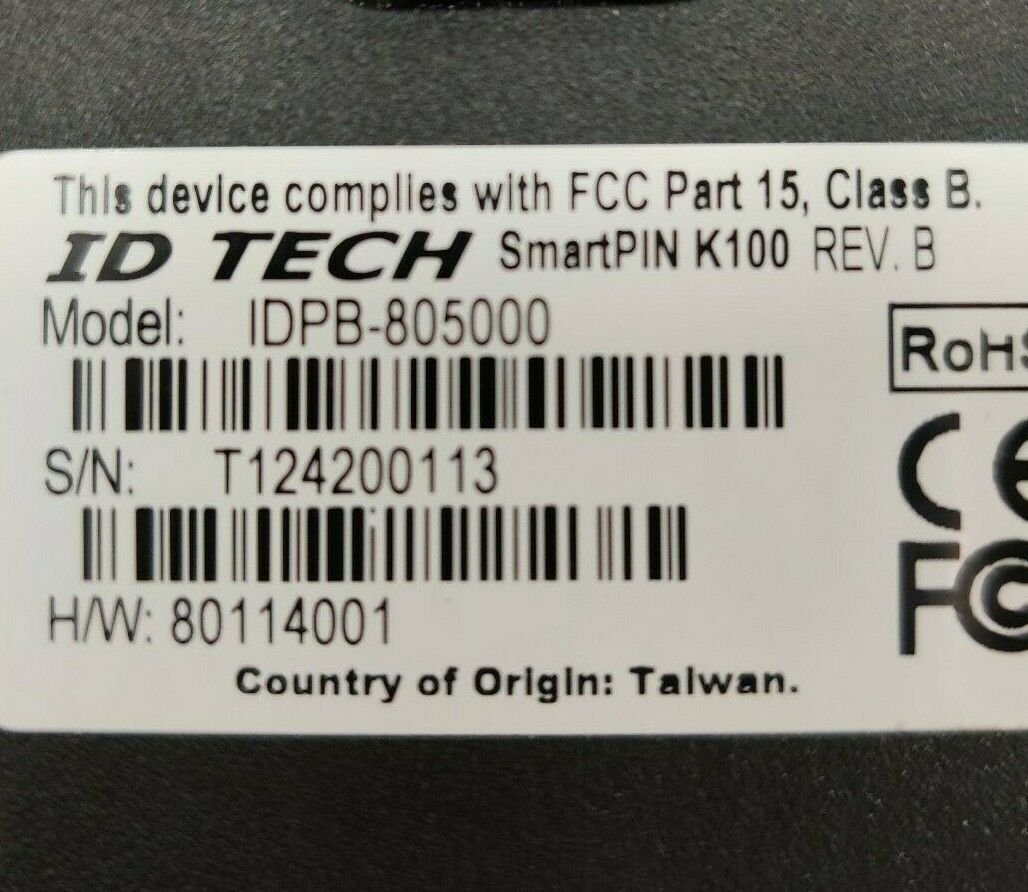 ID TECH SMART PIN K100 IDPB-805000 USB-HID WITH CABLE NEW