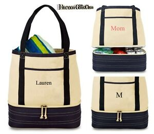 Personalized-2-IN-1-TOTE-amp-INSULATED-10-CAN-COOLER-BAG-Zippered-Lunch-Beach-Bag