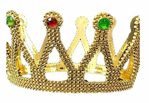 Plastic Gold King Queen Crown Regal Jeweled Crown Costumes Kids Hats