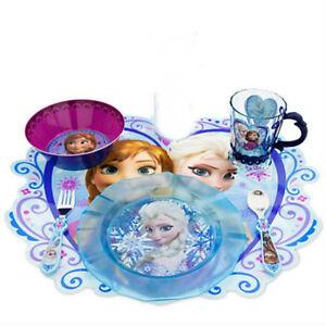 Disney Store Frozen Dinner Set Placemat Plate Bowl Cup