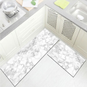 Details About White Grey Marble Texture Design Kitchen Area Rugs Living Room Floor Mat Rug