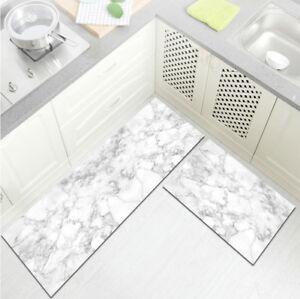 white & grey marble texture design kitchen area rugs