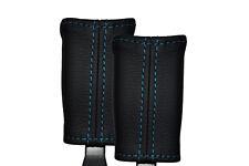 BLUE STITCH 2X SEAT BELT STALK LEATHER SKIN COVERS FITS NISSAN FIGARO