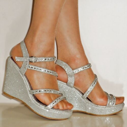 WOMENS DIAMANTE SILVER GOLD BLACK WEDGE MID HEEL EVENING BRIDAL SANDALS SIZE-267