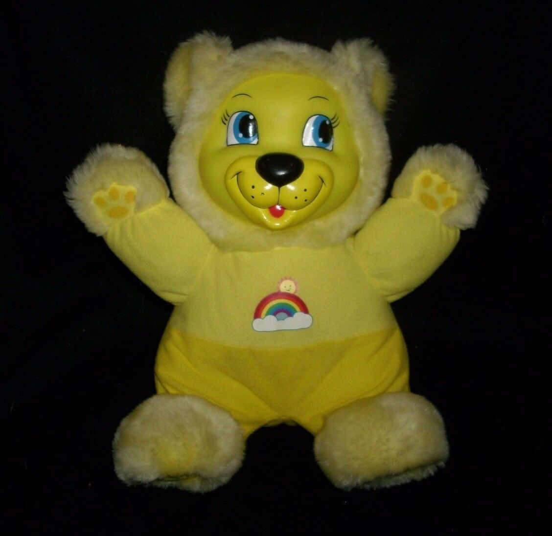 VINTAGE BABIES N THINGS YELLOW TEDDY BEAR MUSICAL LIGHT STUFFED ANIMAL PLUSH TOY