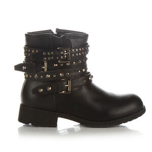 NEW-WOMENS-COMBAT-ARMY-MILITARY-BIKER-FLAT-LACE-UP-WORKER-ANKLE-STUD-BOOTS-SIZE