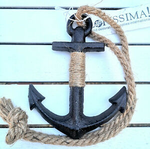 Metall-Anker-Maritim-Schiffsanker-Dekoration-Deko-390g-schwer-Anchor-Seil-Haengen