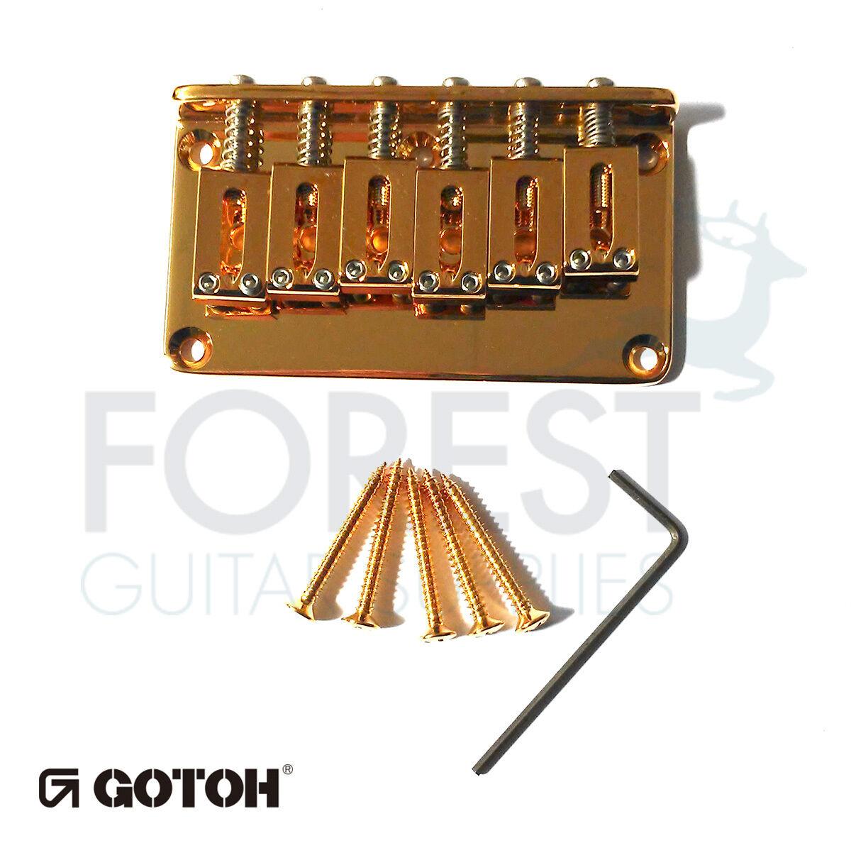 Gotoh guitar Hardtail fixed bridge GTC101, Brass saddle, oro, for Tele or Strat