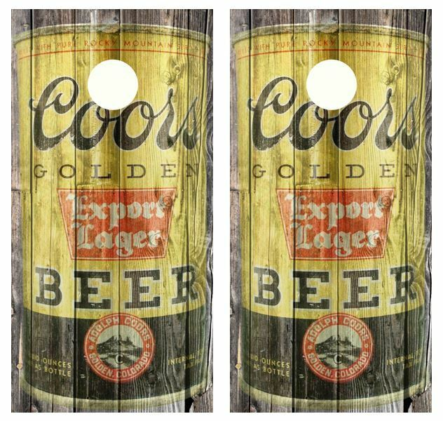 Vintage Coor's  Beer Can Barnwood Cornhole Board  Wraps  counter genuine
