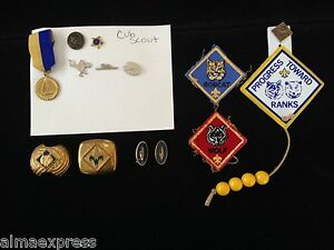 Misc-Lot-of-BSA-Boy-Scouts-Cub-Scouts-Neckerchief-Pins-Patches-Awards