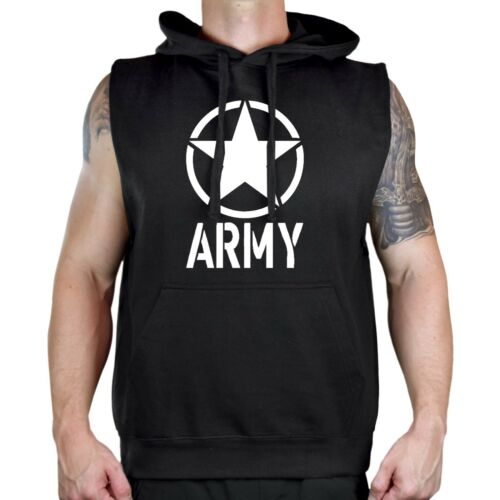 Men/'s Army Circle Star Black Sleeveless Vest Hoodie Workout Fitness Gym US V120