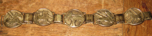 ca. 1920's sterling bracelet gold wash 5 different dogs in relief