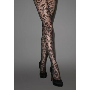 1f73298c256 Details about Jonathan Aston Women s Spellbound Baroque Lace Tulle Tights.  JANL. Black. 1 Pair