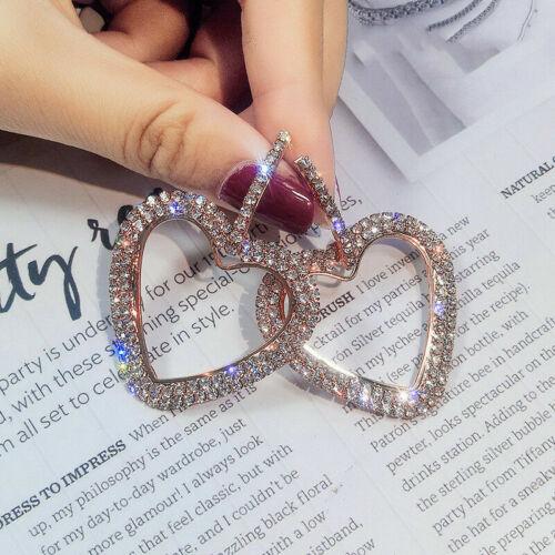 Fashion Luxe Cœur Boucles d/'Oreilles Femme Cristal Géométrique Boucles D/'Oreilles Créoles Bijoux Cadeau