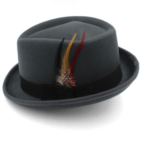 Men Women Diamond Top Hat Pork Pie Sunhat Fedora Trilby Homburg Cap Feather Band