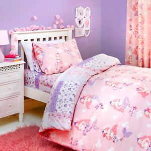 Bedlam-MERMAID-Childrens-Duvet-Cover-Set-Pink-Kids-Girls-Bedding-Curtains-Single