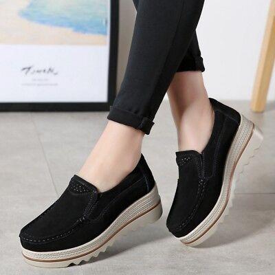 Womens Pumps Ladies Slip-on Wedge Heel Casual Platform Shoes Work Loafer Fashion