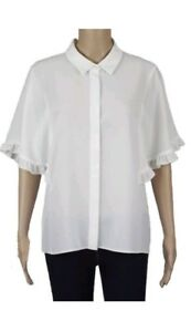 Ex-Dorothy-Perkins-Women-039-s-White-Shirt-Blouse-Floaty-Sleeves-Size-14-20-RRP-22