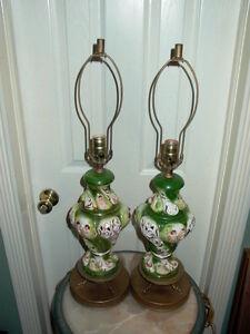 2 Capodimonte Italy Antique Porcelain Cherub Table Lamp