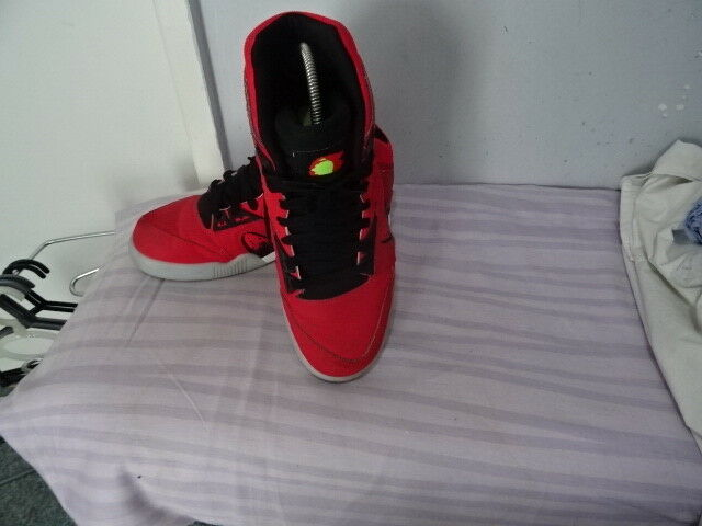 Men's Nike Air Red Leather Textile Boot-likeTrainers UK 9 EU44 Great Condition