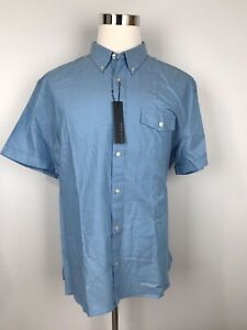 Perry-Ellis-New-Men-039-s-Shirt-2XL-XXL-Solid-Blue-Cotton-Button-Front-Short-Sleeve