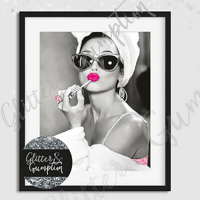 Popular Girls Night in Audrey Hepburn Fashion Lipgloss Beauty Room Art Print
