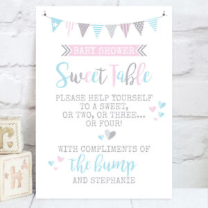Personalised Baby Shower Sweet Table Candy Buffet Sign Pink Or Blue