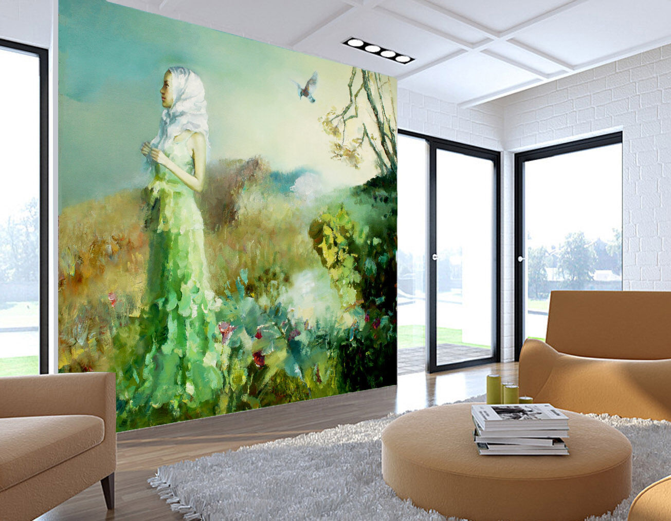 3D Long Dress Girl Painting Wall Paper Wall Print Decal Wall AJ WALLPAPER CA