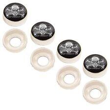 4 Chrome Custom License Plate Frame Screw Snap Caps Covers Skull Bones WB