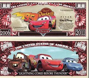 Cars Lightning Mcqueen Disney Pixar Movie Character Million Dollar