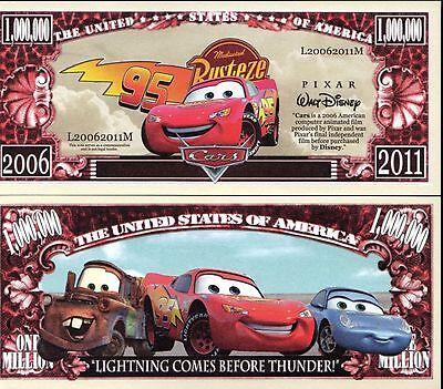 Cars-Lightning McQueen-Disney Pixar Movie Character Million Dollar Novelty Money