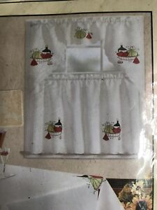 Whiskey Theme Kitchen Curtains Embroidered