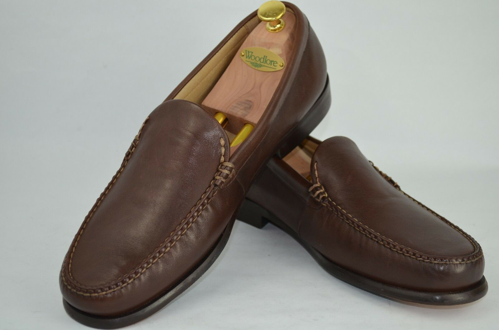 MENS BASS SOFT LEATHER LOAFER-BRONZE STYLE-MOC TOE SIZE 12 M-BROWN-VERY NICE