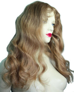 REAL-Human-Hair-Remi-Remy-Glueless-Full-Lace-Wig-Wavy-Indian-Long-T-Color-Blonde