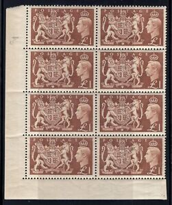 1951 Great Britain. SC#289. SG#512. Mint, Never Hinged, VF.  Corner Block of 8