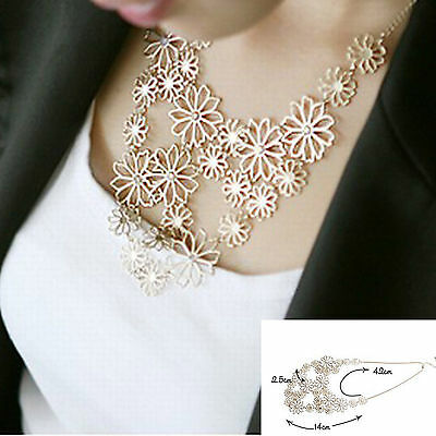 Gold Fashion Chain Jewellery Flower Collar Choker Pendant Statement Necklace