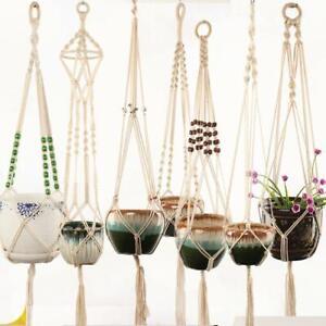 Large Pot Holder Macrame Plant Hanger Solid Rope Braided Hanging Planter Basket