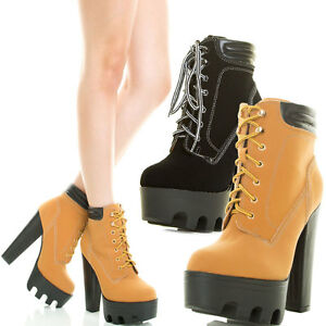 65098d4ad0ff Women Round Toe Lace Up High Top Chunky Thick Heel Lug Sole Platform ...