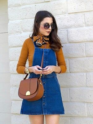 GREAT ZARA BLUE DENIM RETRO PINAFORE DRESS SIZE XS