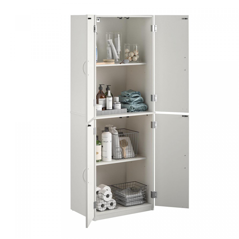 Narrow Wooden Cabinet Tall Slim Storage Shelves Kitchen Pantry Bathroom Towels For Sale Online Ebay