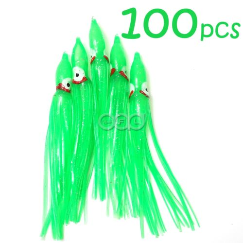 "100pcs 4.75/"" Fishing Squid Skirts Octopus Trolling Hoochies Soft Lure Green"