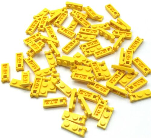 LEGO LOT OF 70 NEW YELLOW 1 X 2 DOT PLATE PIECES WITH BAR ATTACHMENT MOD