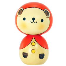 Japanese Usaburo Kawaii Bear w/ Orange Hood Kokeshi Wooden Doll, Made in Japan