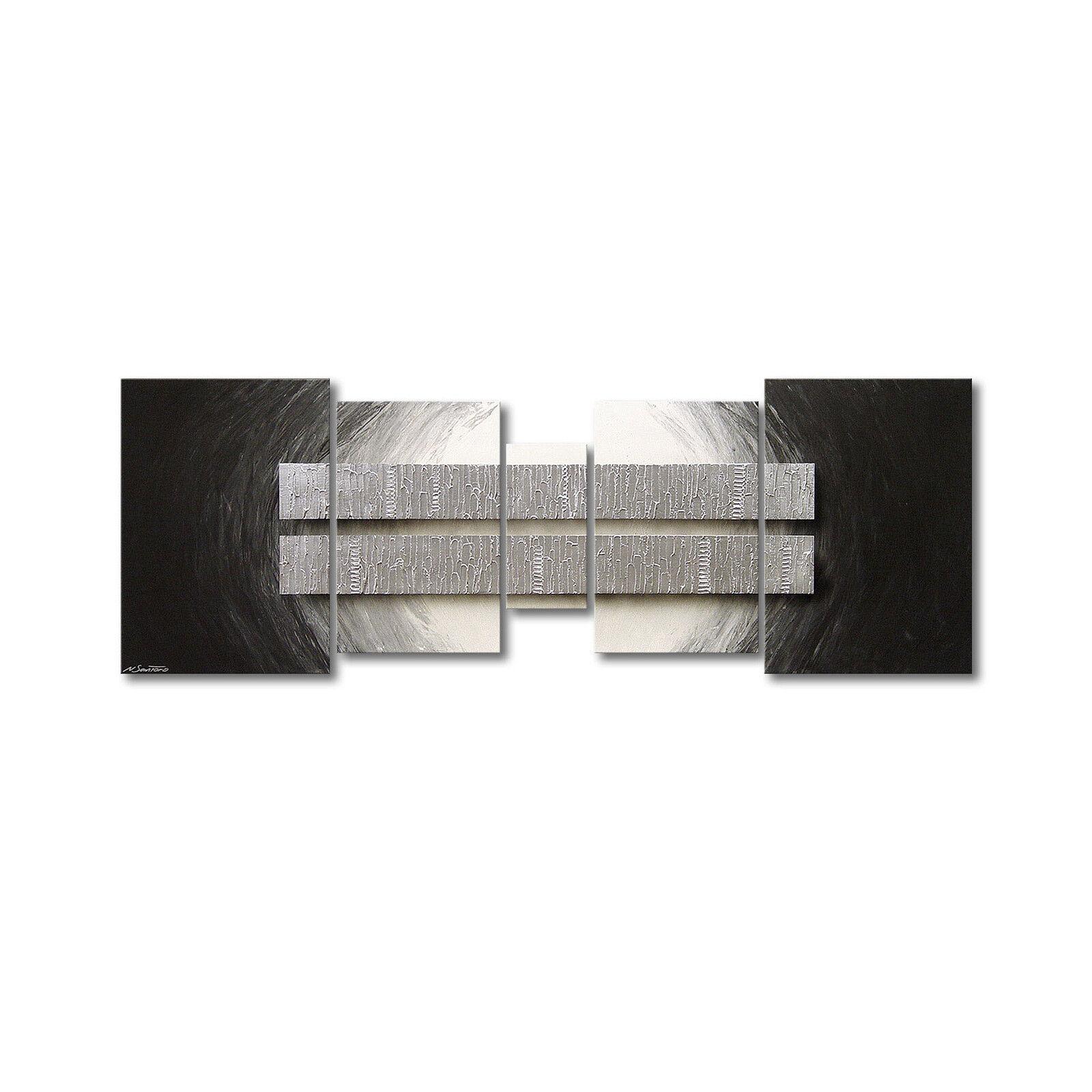 100% handgemaltes Bild - Das Wohnzimmerbild  Silber Blocs