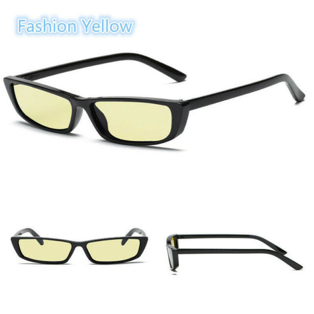 Lady Rectangular Frame Black Eye Sun Glasses Vintage Small Rectangle Sunglasses
