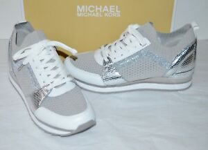 4270d49f7778 New  165 Michael Kors Billie Knit Trainer Fabric Aluminum White ...