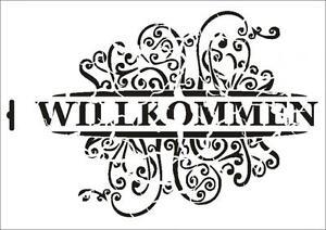 Wandschablone-Maler-T-shirt-Schablone-W-378-Vintage-Wilkommen-UMR-Design
