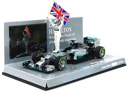 MERCEDES AMG w05 Lewis Hamilton W/FIGURINE & FLAG WINNER Abu Dhabi GP 2014 1:43